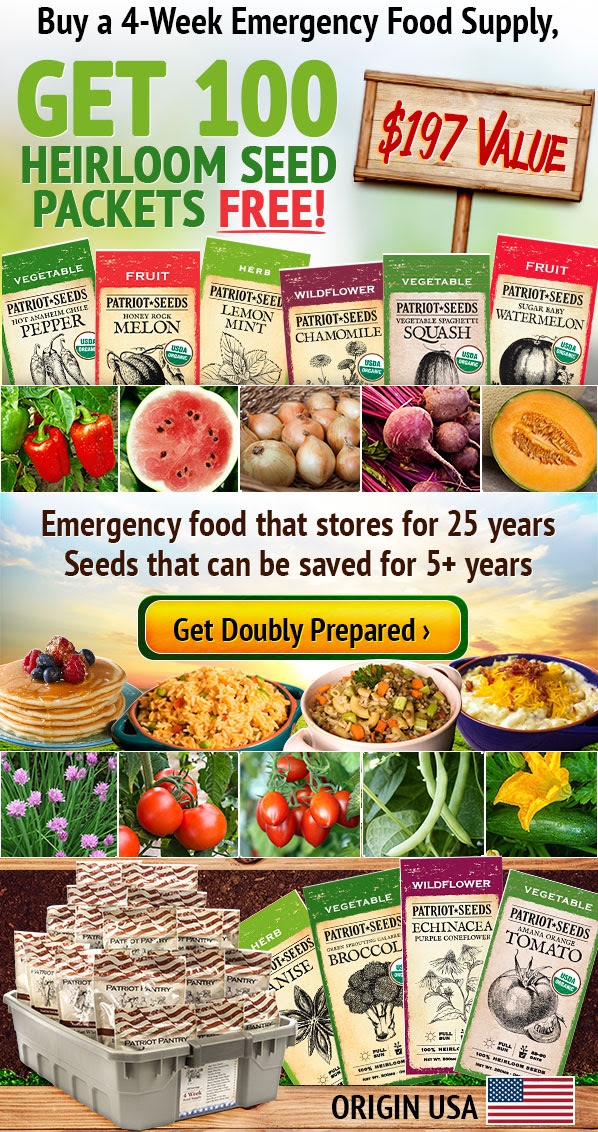 4-Week Emergency Food Supply & 100 Heirloom Seed Packs